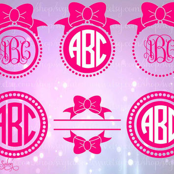 Bow Monogram Frame Vinyl / HTV Decal Digital Cutting File Set in Svg, Eps, Dxf, and Jpeg Format for Cricut and Silhouette