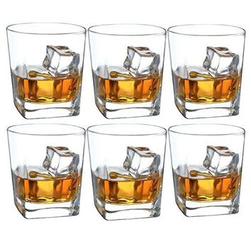 Double Old Fashioned Whiskey Glass  10 oz Crystal Glasses Square White Spirits Mug Scotch Cups Wine Cup Home Bar Drinkware Set of 2