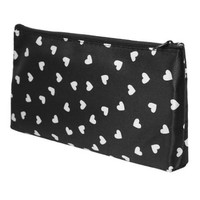 Women White Heart Pattern Black Zipped Makeup Cosmetic Pouch Bag Holder - Walmart.com