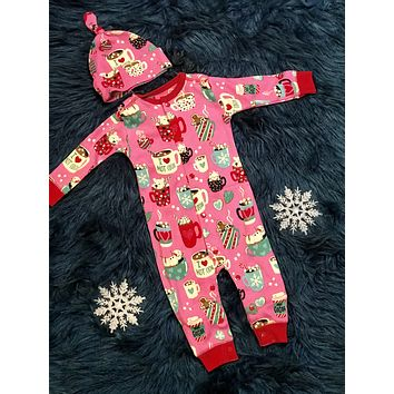 Christmas Infant Coverall With Cap Pajamas Holiday Cocoa