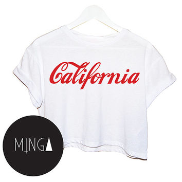 CALIFORNIA t shirt top tee crop tank vest paris hipster fashion grunge trendy swag dope cc yolo womens ladies retro vtg summer usa