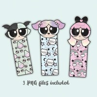 Powerpuff Girls Digital Bookmark, Pastel Goth Digital, Digital Die Cut, Hand Drawn Fan Art