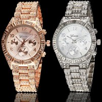 Jewery Men Women Fashion Luxury Gold Diamond Bling Crystal Geneva Watch Bracelet watch (With Thanksgiving&Christmas Gift Box)= 1956418500