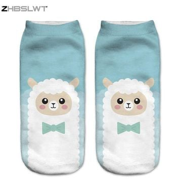 ZHBSLWT 3D Printed Women Socks New Unisex Cute Low Cut Ankle Socks Blue Cartoon Alpaca Women's Casual Socks Animal Shape