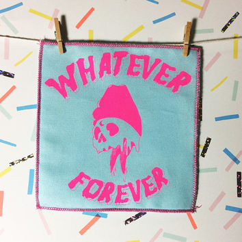 Whatever Forever Patch (Lime and Purple), fabric sew on patch, screenprint patch, fabric patch, punk patch, DIY gift