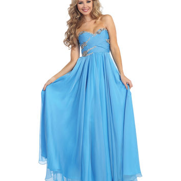 Blue Empire Waist Crisscross Beaded Bodice Chiffon Dress 2015 Prom Dresses