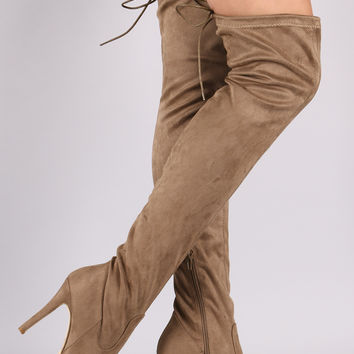 Suede Drawstring Tie Stiletto Pointy Toe Boots