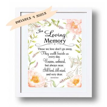 In loving Memory Wedding Sign Printable Memorial table Sign Peach floral Watercolor flowers Memorial sign print Those we love don't go ..
