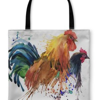 Tote Bag, Chicken And Rooster Splash