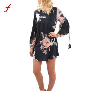 2018 Boho Women Dress Lady's Long Sleeve Floral Printed Short Dress Casual Party Evening Black Mini Dresses Vestidos Mujer
