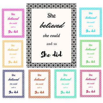 She believed she could and so she did | Motivational Quote | Minimalist Print | Digital Download Print | Art | Binder Cover | Custom Colors