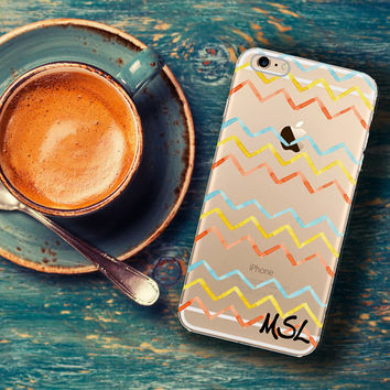 Chevron Iphone 6 case transparent with design, Cute Iphone 6 Plus case clear, Watercolor chevron, Personalized gifts for teenager (1366)