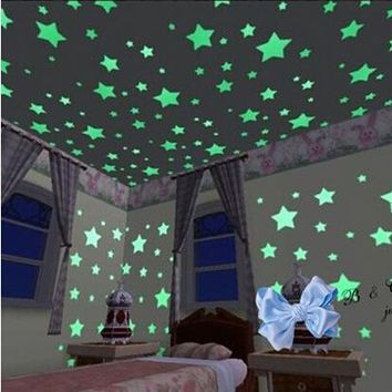 100Pcs/Pack Luminous Stars Wall Stickers,Home Glow In The Dark Stars For Kids Baby Room,DIY Wall Art Home Decor Sticker