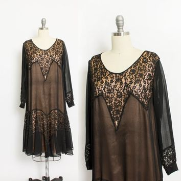 Vintage 1930s Dress - Black Chiffon Sheer Deco Lace Illusion 30s - Medium M