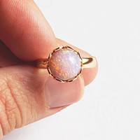Opal Ring Pink Opal Adjustable Ring Vintage Fire Opal Ring Vintage Pink Harlequin Opal Ring