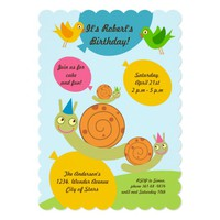 Snails and Balloons Birthday Party invitation