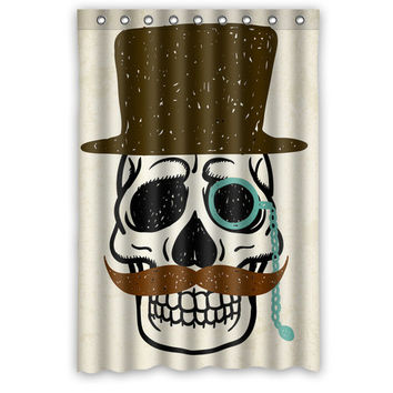 Vogue Waterproof Polyester Bathroom Curtain Customized Decorative Skull with Mustache And Hat Shower Curtain 48*72 (9 holes)