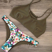 Camouflage Army Green Swimsuit Bikini Set Two Piece Gift 54