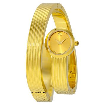 Movado Museum Wrap Yellow Gold Soleil Dial Ladies Dress Watch 0606806