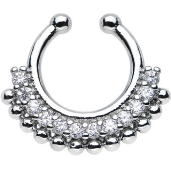 Clear Gem Bright Beauty Non-Pierced Clip On Septum Ring | Body Candy Body Jewelry