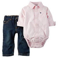 Carter's Boys 2 Piece Pink Button Down Oxford Bodysuit and Blue Dark Wash Denim Jean Set
