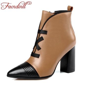 FACNDINLL genuine leather gladiator fashion women shoes ankle boots high heels pointed toe zipper shoes woman work riding boots