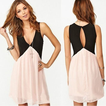 V-Neck Cut Out Back Colorblock Chiffon Dress
