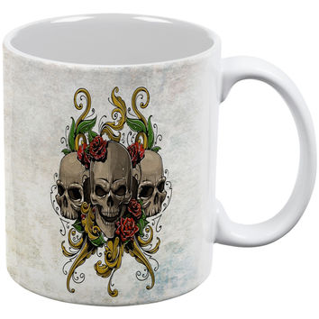 Skull and Roses Metal Tattoo White All Over Coffee Mug
