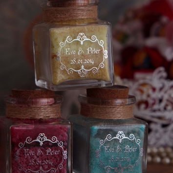 Trio - Wedding Favor  Apothecary Jars filled with  homemade Flavored Sugar- set of 3