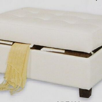 A.M.B. Furniture & Design :: Living room furniture :: Ottomans & Footstools :: Cream bonded leather match storage ottoman foot stool with tufted top