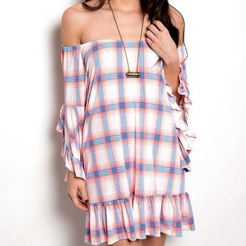 Plaid Off the Shoulder Ruffle Tunic Dress