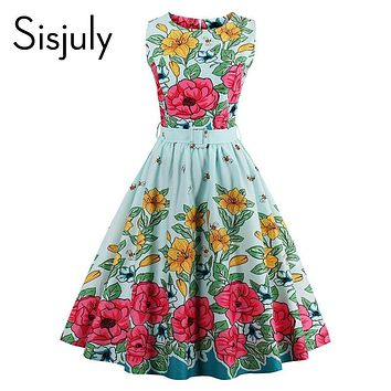 Sisjuly vintage women summer dress light blue floral print little bee cute party dress sashes 2017 summer O-neck A-line vintage
