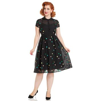 Sallie 1950's Black Polka Dot Flare Dress