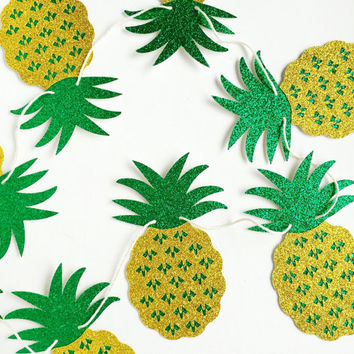 Pineapple Banner - Yellow and Green Glitter Pineapple Party Banner - Pineapple Party // Tropical Party Decor // Luau Party Supplies