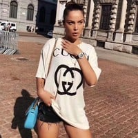 GUCCI 2019 new classic interlocking letter printing round neck T-shirt top white