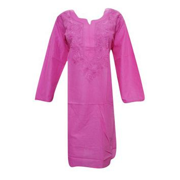 Mogul Womens Ethnic Cotton Long Tunic Pink Floral Embroidered Long Sleeves Summer Comfy Dress XXL - Walmart.com