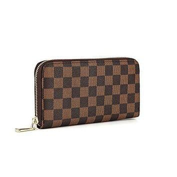 LV tide brand female long large capacity zipper clutch wallet Coffee check