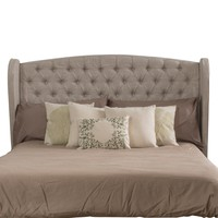 Denise Austin Home Lille Full/ Queen Tufted Fabric Wingback Headboard