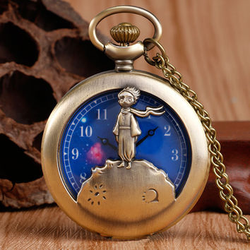 Exquisite The Little Prince Design Blue Planet Pocket Watch Necklace Chain Relogio De Bolso Clock Childhood