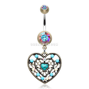 Vintage Boho Filigree Turquoise Heart Belly Button Ring (Brass/Aurora Borealis/Turquoise)