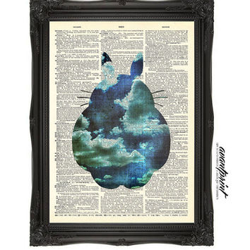 I Dream Of Totoro Original Studio Ghibli Inspired Print on an Unframed Upcycled Bookpage