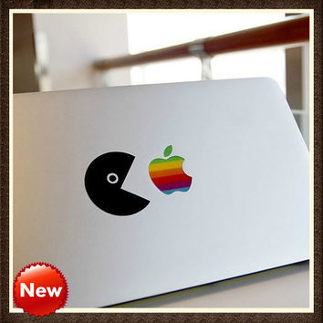 Apple Logo sticker and Greediness bean (2 pieces 1 set)mac decal mac book mac book pro mac book air Ipad