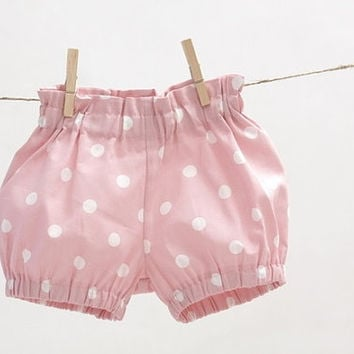 Girls bubble shorts Toddler girls shorts Girls bloomers Girls clothes Pink dot shorts