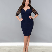 Plus Size Black & Navy Valentina Illusion Wiggle Dress