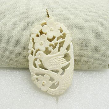 """Carved Asian Bird & Flowers Pendant, 2-7/8"""" Long, Oval, Cutout"""