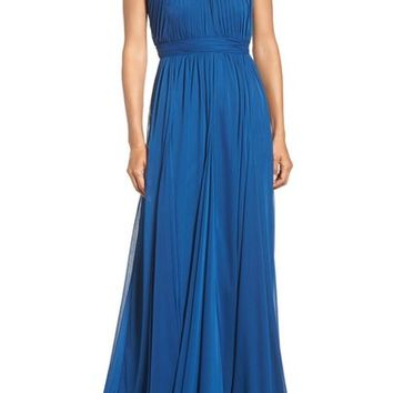 Adrianna Papell Embellished Collar Shirred Gown | Nordstrom