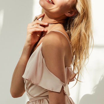 Oh My Love Satin Cold-Shoulder Ruffle Romper | Urban Outfitters