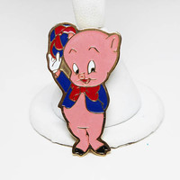 Porky Pig Enamel Gold Plate Pin - Signed GMS Warner Bros, INC 1969 - Cartoon Character Trading Pin - Collectable Movie Star - Original Card