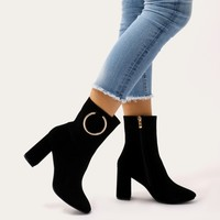Robbi Metal Ring Ankle Boots in Black Faux Suede