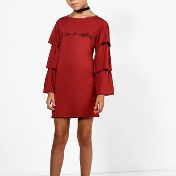 Girls Tiered Sleeve Dress | Boohoo